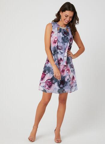 Floral Print Chiffon Dress, Purple, hi-res