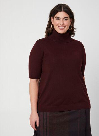 Pull à manches courtes et col roulé, Violet,  laine, tricot, pull, automne hiver 2019
