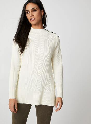 Rib-Knit Sweater, Off White,  fall winter 2019, long sleeves, rib-knit, mock neck, button details