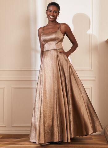 Metallic Glitter Ball Gown, Gold,  prom dress, ball gown, glitter, metallic, spaghetti straps, scoop neck, pockets, crinoline, spring summer 2021