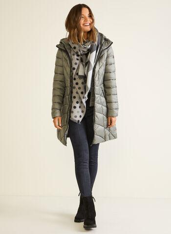 Bernardo - EcoPlume™ Mid Length Coat, Silver,  coat, quilted, hood, vest, pockets, ecoplume, down, fall winter 2020