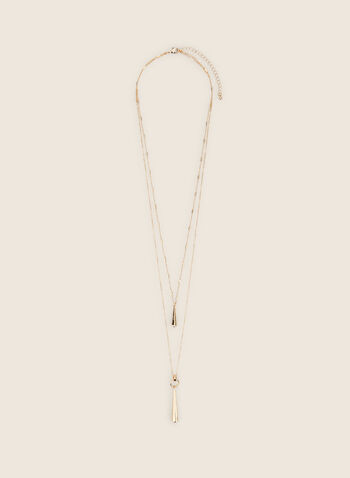 Collier à double chaîne et pendentifs allongés, Or,  collier, pendentifs, allongés, métal, double, printemps été 2020