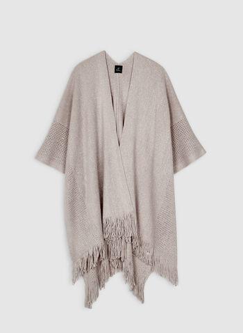 Echo New York - Étole frangée en tricot pointelle , Blanc cassé, hi-res,  étole, franges, tricot, pointelle, automne hiver 2019