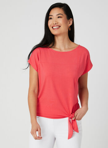 Tie Front Short Sleeve T-Shirt, Orange,  boat neck, drop shoulder, short sleeves, tie, spring 2019