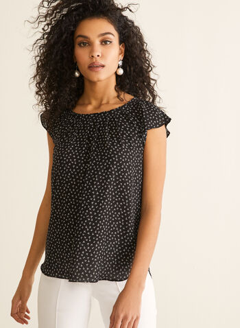 Floral Print Ruffle Sleeve Blouse, Black,  blouse, crepe, floral, short sleeves, ruffled spring summer 2020