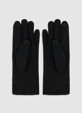 Gants à pompon de fausse fourrure, Noir,  automne hiver 2019, gants, pompon, fausse fourrure, surpiqûres