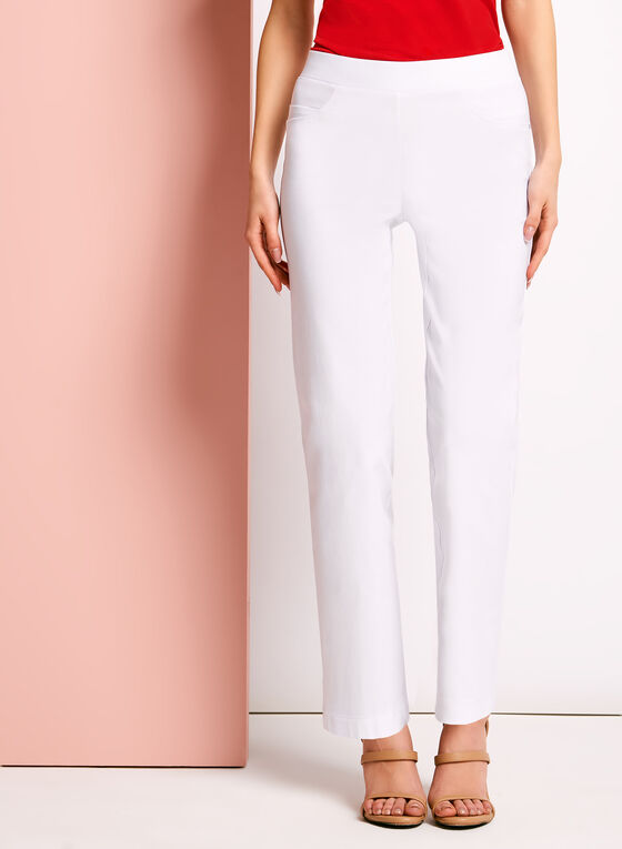 City Fit Pull On Straight Leg Pants, White, hi-res