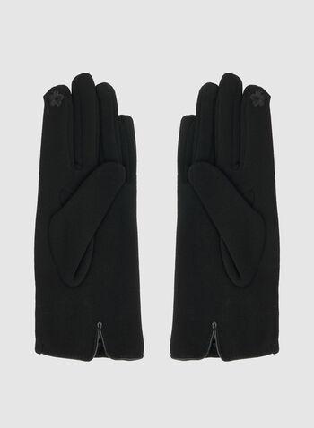 Gants à détail fleur, Noir, hi-res,  gants, fleur, automne hiver 2019