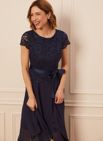 Glitter Lace Midi Dress, Blue,  spring summer 2020, cap sleeves, scoop neck, glitter lace, mesh, skarkbite hem, satin sash, peplum top