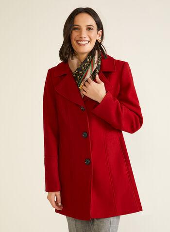 Manteau structuré en molleton, Rouge,  automne hiver 2020, manteau, manteau d'hiver, molleton, laine, col cranté, poches, boutons