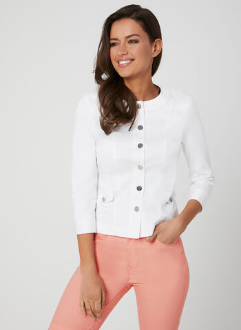 ¾ Sleeve Button Down Jacket, White, hi-res,  jacket, button down, 3/4 sleeves, spring 2019