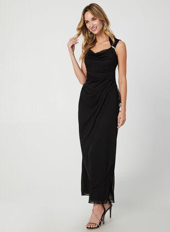 Mesh Evening Dress, Black,  long dress, dress, evening dress, mesh, mesh dress, ruched dress, rhinestone, fall 2019, winter 2019