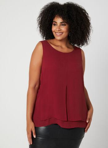 Sleeveless Crepe Blouse, Red,  sleeveless, blouse, crepe, fall 2019, winter 2019