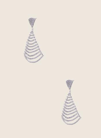 Boucles d'oreilles à triangle en cristaux, Argent,  boucles d'oreilles, cristaux, triangle, printemps été 2020