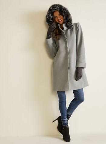 Manteau à capuchon en laine mélangée, Gris,  automne hiver 2020, manteau, hiver, manteau d'hiver, capuchon, fausse fourrure, boutons, serge, laine, mélange