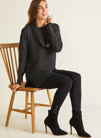 Removable Collar Sweater, Grey,  sweater, tunic, long sleeves, removable collar, cowl, ribbed, fall winter 2020