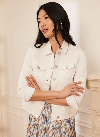 Embellished Denim Jacket, White,  jacket, denim, embellished, floral, embroidery, spring summer 2021