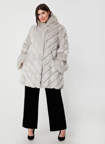 Nuage - Faux Fur Coat, Silver,  coat, faux fur, winter coat, faux fur coat, long sleeves, fall 2019, winter 2019