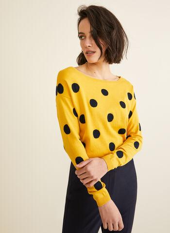 Boat Neck Jacquard Sweater , Yellow,  sweater, knit, long sleeves, dot, jacquard, boat neck, fall winter 2019