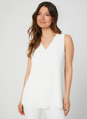 Sleeveless Crepe Top, Off White,  stretch, stretchy, v-neck, summer 2019