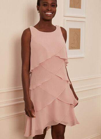 Tiered Chiffon Dress, Pink,  cocktail dress, chiffon, tiered, ruffled, sleeveless, scoop neck, tulip hemline, lined, spring summer 2020