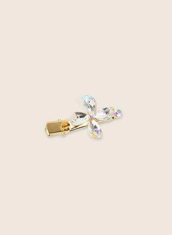 Crystal Flower Hair Clip , Gold,  hair clip, hair accessory, flower clip, floral clip, crystals, crystal clip, spring 2020, summer 2020