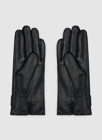 Gants en cuir à détail torsadé, Noir, hi-res,  gants, torsadé, cuir, automne hiver 2019