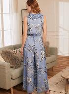 Joseph Ribkoff - Floral Print Wide Leg Jumpsuit, Blue