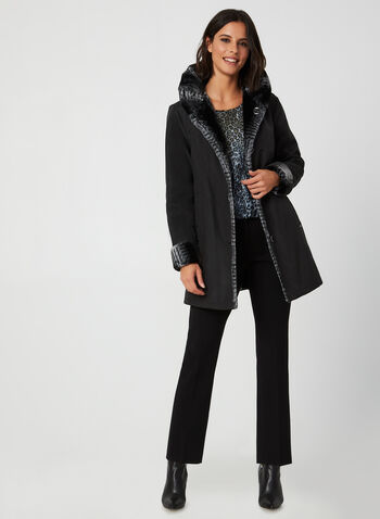 Novelti - Reversible Faux Fur Coat, Black,  coat, faux fur, faux fur coat, reversible coat, water repellent, buttoned coat, fall 2019, winter 2019