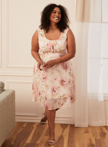 Floral Print Chiffon Day Dress, Pink,  day dress, floral, scoop neck, sleeveless, pleated, spring summer 2020
