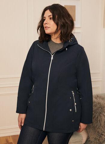 Removable Hood Raincoat, Blue,  coat, raincoat, hood, zipper, pockets, spring summer 2020