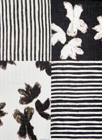 Foulard léger à fleurs et rayures, Noir, hi-res