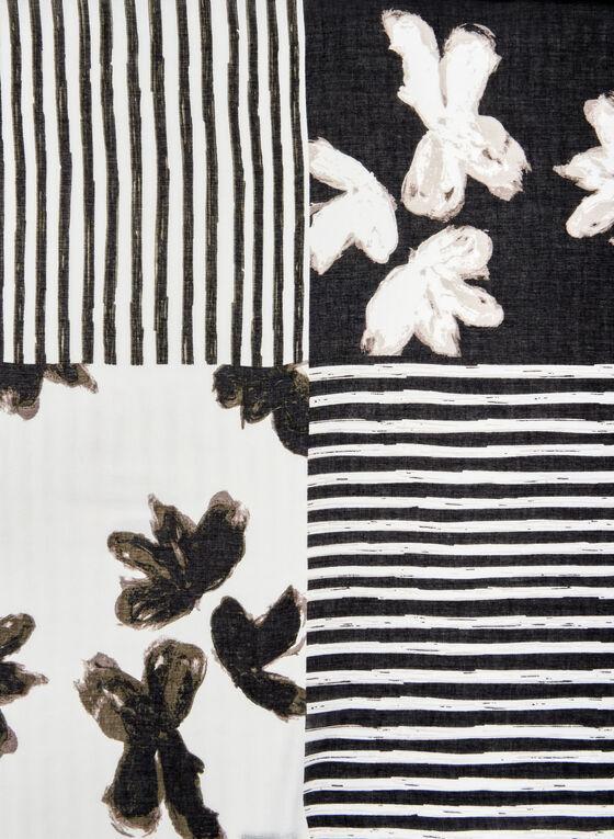 Floral & Stripe Print Scarf, Black, hi-res