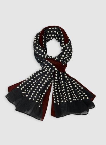 Foulard oblong à motif pois, Rouge, hi-res,  foulard, oblong, pois, automne hiver 2019