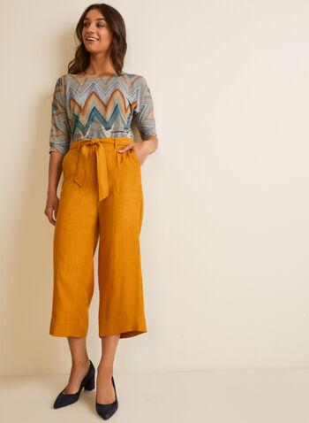 Belted Skirt Pants , Yellow,  pants, skirt pants, wide legs, belt, mid-waist, pockets, belt, spring summer 2020