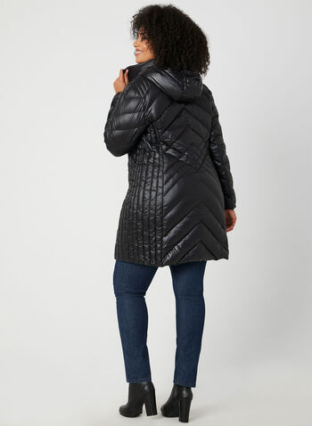 BCBGeneration - Packable Down Quilt Coat, Black, hi-res,  coat, quilt coat, down coat, feather, packable coat, zippers, hood, winter 2019, fall 2019