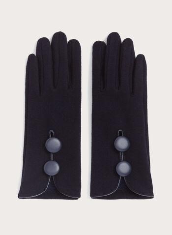 Gants avec liseré de similicuir et boutons décoratifs, , hi-res