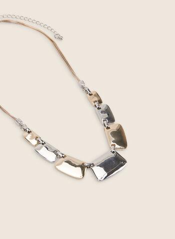 Collier à rectangles métallisés, Jaune,  collier, tons, rectangle, métal, doré, argenté, cordon, printemps été 2020