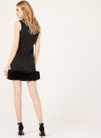 Sleeveless Ruffle Hem Dress , Black, hi-res