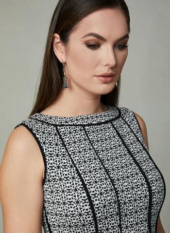Panelled Fit & Flare Dress, Black, hi-res