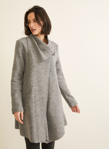 Carré Noir - Boiled Wool Coat, Grey,  coat, boiled wool, clip, asymmetric, fall winter 2019
