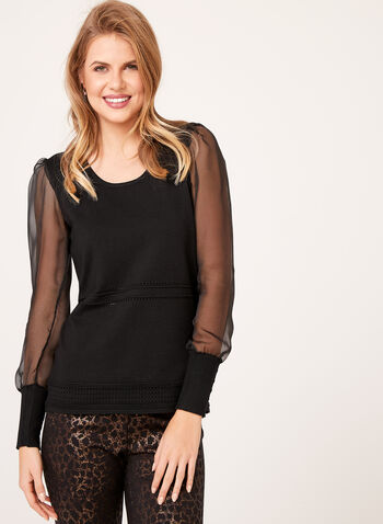 Illusion Sleeve Knit Sweater, Black, hi-res