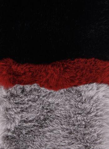 Écharpe à blocs de couleurs en fausse fourrure, Noir, hi-res,  foulard, fausse fourrure, blocs de couleurs, passant, automne hiver 2019