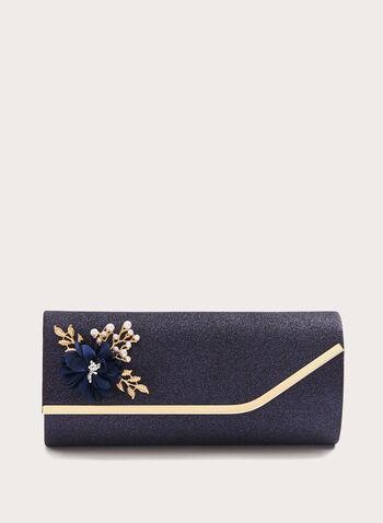 Brooch Detail Glitter Clutch, Blue, hi-res