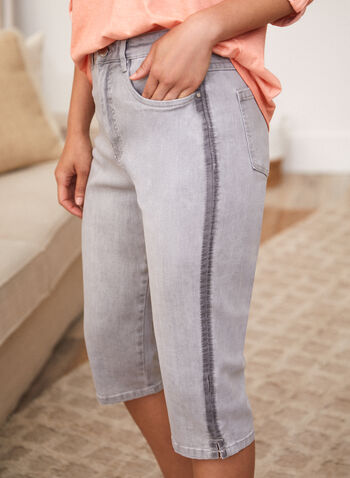 Contrast Detail Denim Capris, Silver,  spring summer 2021, made in canada, denim, capris, pants, straight leg, high rise, contrast detail, stripe, faded, zipper, button, pockets