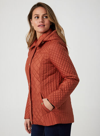 Anne Klein - Diamond Quilted Coat, Orange,  fall winter 2019, Anne Klein, quilted, gold details
