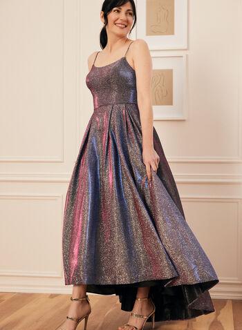 Metallic Glitter Ball Gown, Silver,  prom dress, gown, ball gown, scoop neck, spaghetti straps, metallic, glitter, pockets, crinoline, high low, spring summer 2021