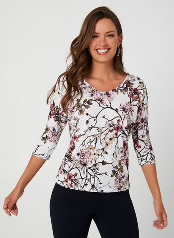 Floral Print Jersey Top, White,  fall winter 2019, jersey, floral print, 3/4 sleeves