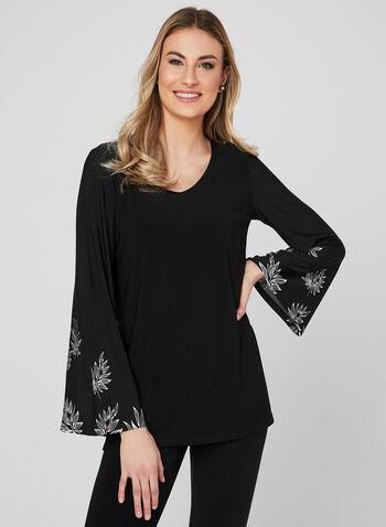 Bell Sleeve Jersey Top, Black, hi-res