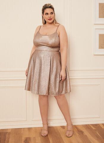 Sleeveless Metallic Dress , Gold,  short dress, dress, glitter dress, metallic dress, metallic, straps, spring 2020, summer 2020